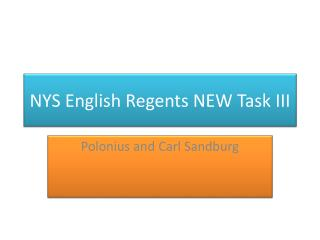 NYS English Regents NEW Task III