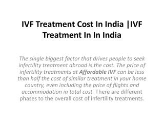 IVF Treatment Cost In India |IVF Treatment In In India