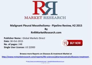 Malignant Pleural Mesothelioma Pipeline Review H2 2015