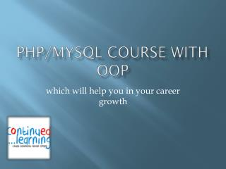 PHP/MySQL Course with OOP