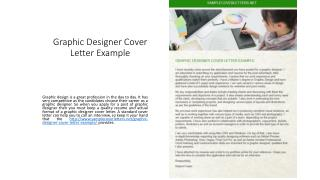 Graphic Designer Cover Letter Example