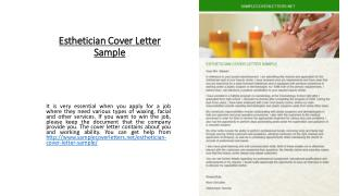 Esthetician Cover Letter Sample