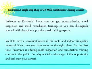 Mold Certification Training Course