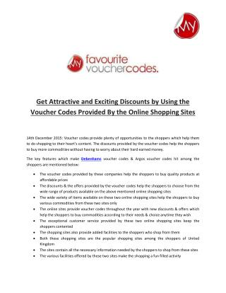 Get Attractive and Exciting Discounts by Using the Voucher Codes Provided By the Online Shopping Sites