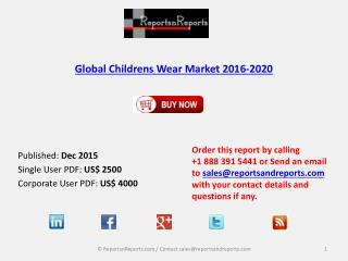 Childrens Wear Market 2020 Key Vendors Research and Analysis