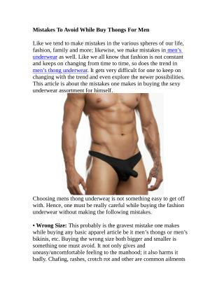Mistakes To Avoid While Buy Thongs For Men