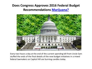 Does Congress Approves 2016 Federal Budget Recommendations Marijuana?