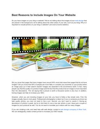 Best Reasons to Include Images On Your Website