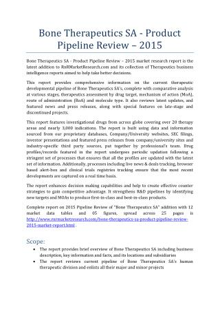 Bone Therapeutics SA Product Pipeline Review 2015