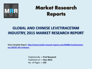Levetiracetam Industry 2020 Global Forecasts with a Focus on Chinese Market