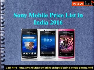 Latest Sony Mobile Price India