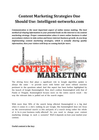 Intelligent-networks.com Content Marketing Strategies