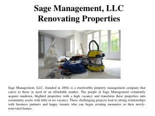 Sage Management LLC Renovating Properties