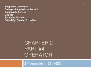 Chapter 2  part #4 Operator