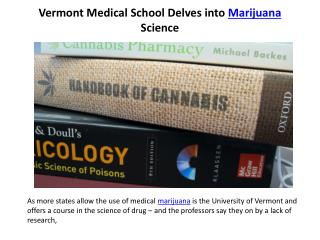 Vermont Medical School Delves into Marijuana Science