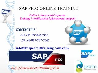 SAP FICO ONLINE TRAINING IN USA