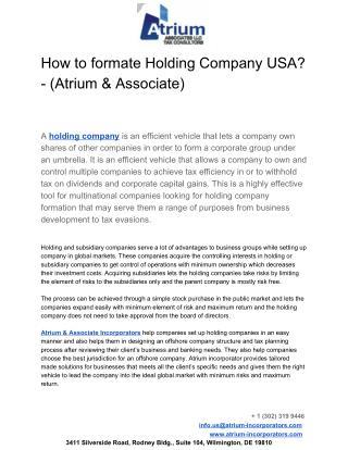 How to formate Holding Company USA? - (Atrium & Associate)