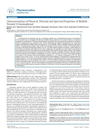 Characterization of Physical, Thermal and Spectral Properties of Biofield Treated O-Aminophenol