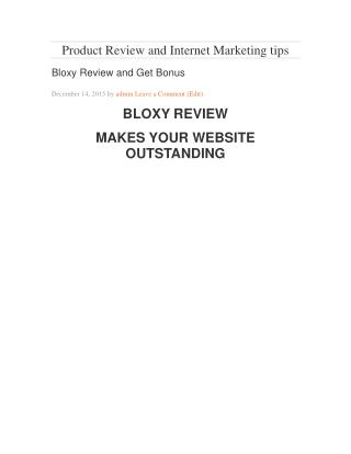 Bloxy Review and Bonus