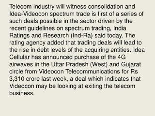 Telecom Sector to Face Consolidation, Rise in Debt