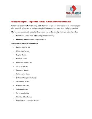 Nurses Mailing List - Registered Nurses, Nurse Practitioner Email Lists