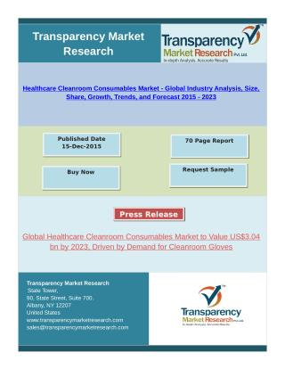 Healthcare Cleanroom Consumables Market - Global Industry Analysis, Trends, and Forecast 2015 - 2023