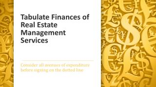 Tabulate Finances of Real Estate Management Services