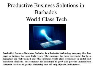 Productive Business Solutions of Barbados World Class Tech