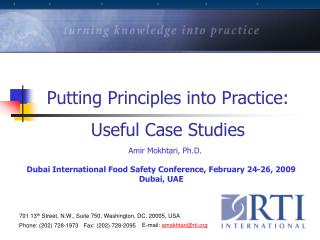 Putting Principles into Practice: Useful Case Studies