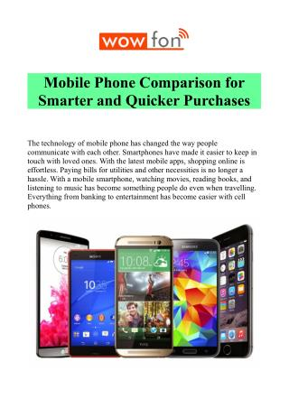 Compare Mobile Phone Features & Price