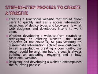 Step-By-Step Process to Create a Website