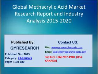 Global Methacrylic Acid Market 2015 Industry Growth, Trends, Development, Research and  Analysis