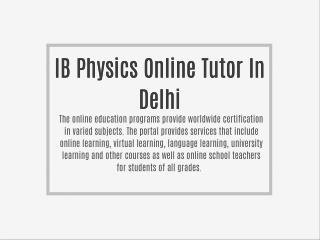 IB Physics Online Tutor In Delhi