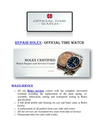 Repair Rolex- Official Time Watch
