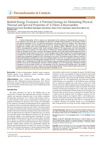 Biofield Energy Treatment: A Potential Strategy for Modulating Physical, Thermal and Spectral Properties of 3-Chloro-4-f