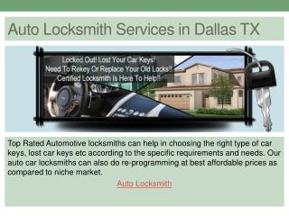 Auto Locksmith Services in Dallas TX