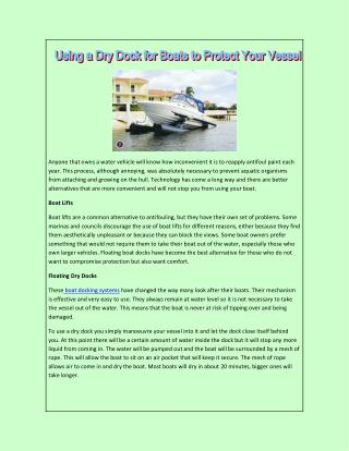 Using a Dry Dock for Boats to Protect Your Vessel