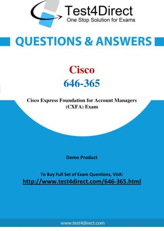 Cisco 646-365 Sales Expert Real Exam Questions