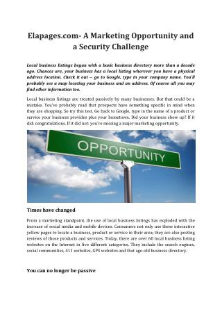 Elapages.com- A Marketing Opportunity and a Security Challenge