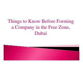 Things to Know Before Forming a Company in the Free Zone, Dubai