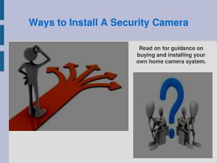 Ways to Install A Security Camera