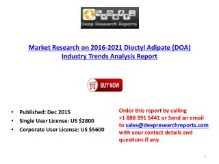 Dioctyl Adipate (DOA) Industry for Global Markets Forecast to 2021