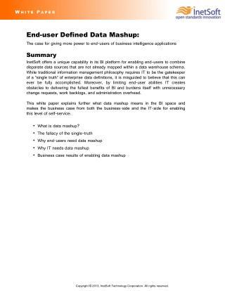 Business Case for Data Mashup