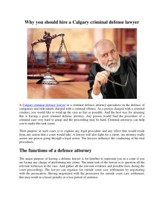 Why you should hire a Calgary criminal defense lawyer