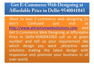 Get E-commerce web designing at Affordable Price in Delhi -9540041043