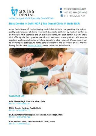 Best Dentist in Delhi NCR, Top Dental Clinic in Delhi – Axiss Dental