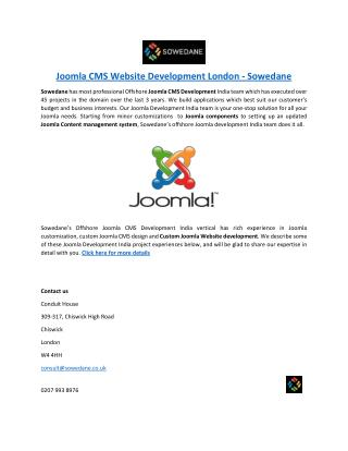 Joomla CMS Website Development London - Sowedane