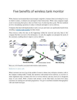 Five benefits of wireless tank monitor