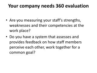 Your company needs 360 evaluation
