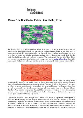 Choose The Best Online Fabric Store To Buy From
